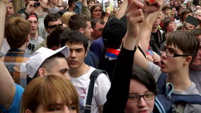 RUSSIA, MOSCOW - JUNE 12, 2017: Rally Against Corruption Organized by Navalny on Tverskaya Street. People are chanting stock video footage