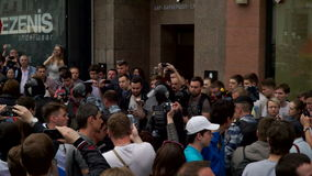 RUSSIA, MOSCOW - JUNE 12, 2017: Rally Against Corruption Organized by Navalny on Tverskaya Street. The police removes stock video