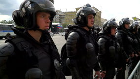 RUSSIA, MOSCOW - JUNE 12, 2017: Rally Against Corruption Organized by Navalny on Tverskaya Street. Young policemen stock video footage