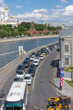 RUSSIA, MOSCOW, JUNE 8, 2017: Road traffic on Sofiyskaya Embankment. stock photography