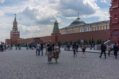 RUSSIA, MOSCOW, JUNE 8, 2017: Undefined people walk on the Red Square in Moscow. Royalty Free Stock Images