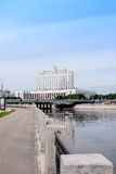 RUSSIA, MOSCOW - June 30, 2017: view across the river to the Government House of the Russian Federation with a beautiful blue sky Royalty Free Stock Image