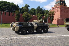 Russia, Moscow Kremlin and Army Personal armored carrier Stock Photography