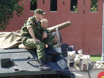 Russia, Moscow Kremlin and Army Personal armored carrier Stock Photo