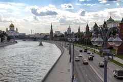 Russia Moscow Kremlin embankment. Kremlin, Cathedral Of Christ The Saviour. Day traffic in the city center. 11.07.2017 15:48 pm stock image