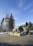 Russia, Moscow, the Kremlin, the Tsar cannon. Tsar-cannon - medieval artillery piece monument of Russian artillery and art foundry, cast in bronze in 1586 Royalty Free Stock Images