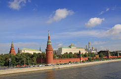 Russia, Moscow Kremlin. The Moscow Kremlin, usually referred to as the Kremlin, is a fortified complex at the heart of Moscow, overlooking the Moskva River to Stock Image
