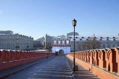 Russia. Moscow. The Kremlin walls. Kutafya tower is the only preserved bleed tower-gate fortification of the Moscow Kremlin. Located opposite Trinity tower, at Royalty Free Stock Images