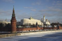 Russia, Moscow Kremlin in winter Royalty Free Stock Photo