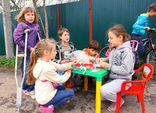 RUSSIA, MOSCOW, MAI 02, 2015: Country children trying to organis Stock Photo