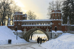 Russia, Moscow, Manor and park Tsaritsyno, winter, sunset, freez Stock Photos