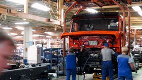 Russia - Moscow 5 March 2020: Automobile assembly line production at the Kamaz truck factory. Scene. Time lapse effect