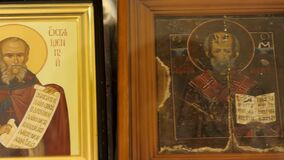Russia - Moscow, 25 March 2020: Close up of sacred icon with holy figuresof the Eastern Orthodox church, religion