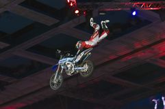 Main thing to keep. RUSSIA, MOSCOW-MARCH 2: Unidentified sportsman doing tricks on his bike at the VI festival of extreme sports in the Olympic Sports Complex Stock Photos