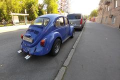 Russia, Moscow - May 04, 2019: Blue Vintage car Volkswagen Beetle  (Volkswagen Bug, VW Kaefer) parked Back side. Russia, Moscow - May 04, 2019: Blue Vintage car royalty free stock photography