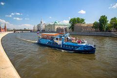 Moscow river and excursion boat royalty free stock photography