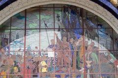 Russia, Moscow:  Stained glass `Pereyaslavskaya Rada`. Pavilion `Ukraine`, VDNKh. Russia, Moscow, May 30,  2019:  Stained glass `Pereyaslavskaya Rada`. Pavilion stock image