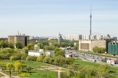 Russia, Moscow, May 05, 2017:  View of the Ostankino tower and the sculpture `worker and collective farm girl`. View from above. Spring landscape Stock Photo
