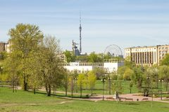 Russia, Moscow, May 05, 2017:  View of the Ostankino tower and the sculpture `worker and collective farm girl`. View from above. Spring landscape Stock Photography