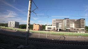 Wiew from the ICC wagon. RUSSIA, MOSCOW - MAY 20, 2019: Wiew from the ICC wagon between the stations Izmailovo and Sokolinaya Gora of the MCC in May 2019 in stock video