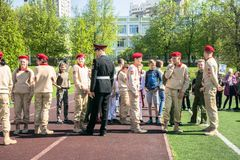 Russia, Moscow, May, 07.2018: The `Young Army` Military Movement`s Cadets, participating in school solemn event on the Victory day. Established in October 2015 royalty free stock image