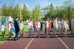 Russia, Moscow, May, 07.2018: The `Young Army` Military Movement`s Cadets, participating in school solemn event on the Victory day. Established in October 2015 stock photo