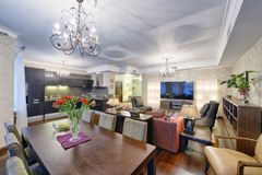 Russia Moscow - Modern interior design living room, urban real estate Royalty Free Stock Photos