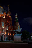 Russia. Moscow. Monument to Marshal Zhukov. June 9, 2016. Russia. Moscow. Monument to Marshal Zhukov at night. June 9, 2016 royalty free stock photography