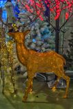 Russ New Year deer at the sale of Christmas decorations on the m. Russia, Moscow 15,12,2017  New Year deer at the sale of Christmas decorations on the market Royalty Free Stock Photography