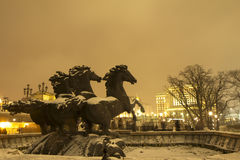 Russia. Moscow. Night lighting. In Moscow winter, New Year. People go out in the Alexandrovsky garden near the Kremlin walls Royalty Free Stock Photography