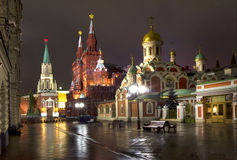 Russia. Moscow at night. Nikolskaya street in Moscow, which leads to the Red square Stock Image