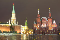 Russia. Moscow at night. State historical Museum - the historical Museum of Russia, located on the Northern side of the red square in Moscow Royalty Free Stock Photography