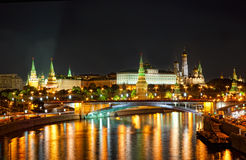 Russia, Moscow. Night view of the Moskva River, Bridge and the Kremlin Stock Photos
