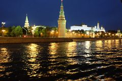 Russia, Moscow, night view of the River, Bridge and the Kremlin Stock Images