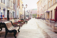 Free Russia, Moscow, Nikolskaya Street - Summer 2017 - Early Morning Stock Images - 97474934