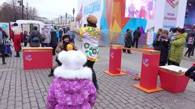 Celebrating the Day of National Unity. RUSSIA, MOSCOW - NOVEMBER 04, 2017: Celebrating the Day of National Unity. Day of National Unity 2017 in Moscow in stock video footage