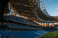 Presentation of the field at the newly constructed Dynamo Stadium in Moscowe. Russia, Moscow, October 2017: Presentation of the field at the newly constructed royalty free stock photo