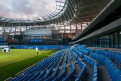Presentation of the field at the newly constructed Dynamo Stadium in Moscowe. Russia, Moscow, October 2017: Presentation of the field at the newly constructed royalty free stock images