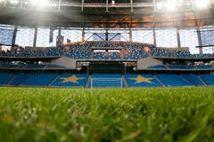 Presentation of the field at the newly constructed Dynamo Stadium in Moscowe. Russia, Moscow, October 2017: Presentation of the field at the newly constructed royalty free stock photos