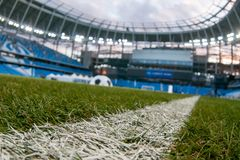 Presentation of the field at the newly constructed Dynamo Stadium in Moscowe. Russia, Moscow, October 2017: Presentation of the field at the newly constructed stock photo