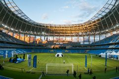 RPresentation of the field at the newly constructed Dynamo Stadium in Moscowe. Russia, Moscow, October 2017: Presentation of the field at the newly constructed stock photo