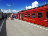 Russia, Moscow. Passengers leaving aeroexpress Dom Royalty Free Stock Photo