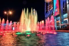 Musical fountain on the square of Kiev railway station. Russia,. Russia, Moscow. Photo 17 August 2018. Musical fountain on the square of Kiev railway station Royalty Free Stock Photography
