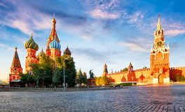 Russia - Moscow in red square with Kremlin and St. Basil`s Cathedral stock images
