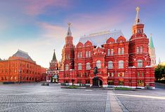 Russia, Moscow - Red square at sunrise, nobody stock photography