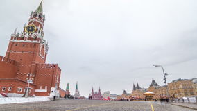 Russia, Moscow, Red Square timelapse. Spasskaya Tower and GUM Shopping Center on the back. Winter cloudy day. Red Square view from St. Basil`s Cathedral stock video