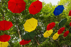 RUSSIA, MOSCOW REGION. Colorful umbrellas in the park Royalty Free Stock Photo