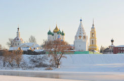 Russia. Moscow region. Ensemble of Kolomna Kremlin. Russia. Moscow region. Town of Kolomna. Ensemble of Kolomna Kremlin at a sunset across frozen Moskva river in stock images