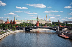 Russia. Moscow-river on Kremlin background. Stock Photos