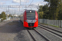 RUSSIA, MOSCOW,  SEPTEMBER, 26, 2016: Central ring railway. Royalty Free Stock Images